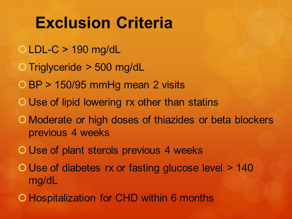 Exclusion Criteria LDL-C > 190 mg/dL Triglyceride > 500 mg/dL BP > 150/95 mmHg mean 2 visits Use of lipid lowering rx other than statins Moderate or high doses of thiazides or beta blockers previous 4 weeks Use of plant sterols previous 4 weeks Use of diabetes rx or fasting glucose level > 140 mg/dL Hospitalization for CHD within 6 months