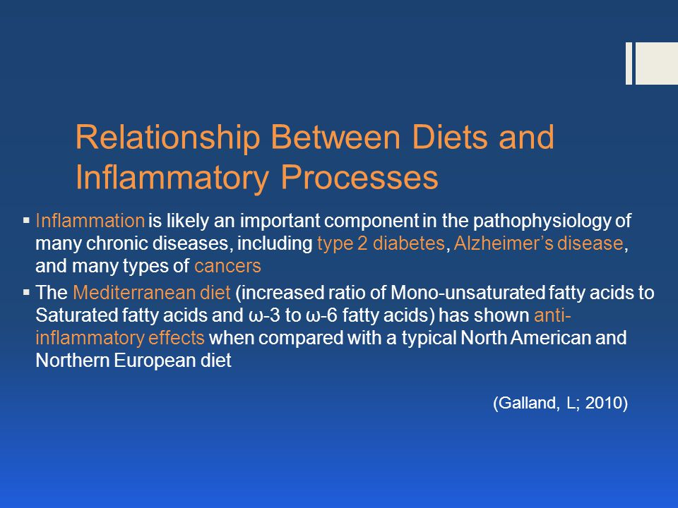 Relationship Between Diets and Inflammatory Processes Inflammation is likely an important component in the pathophysiology of many chronic diseases, including type 2 diabetes, Alzheimers disease, and many types of cancers The Mediterranean diet (increased ratio of Mono-unsaturated fatty acids to Saturated fatty acids and ω-3 to ω-6 fatty acids) has shown anti- inflammatory effects when compared with a typical North American and Northern European diet (Galland, L; 2010)