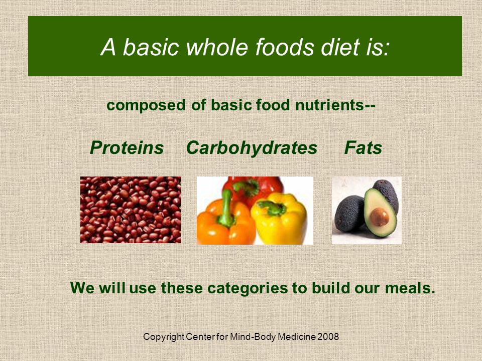 Copyright Center for Mind-Body Medicine 2008 Basic Whole Foods Diet composed of basic food nutrients-- Proteins Carbohydrates Fats We will use these categories to build our meals.