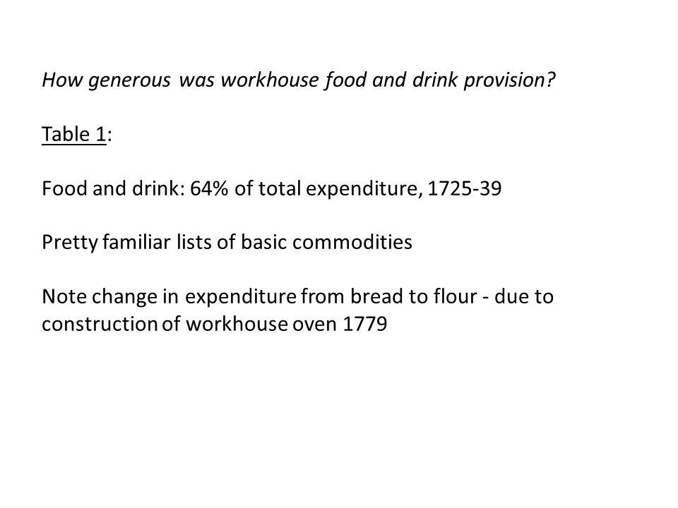 How generous was workhouse food and drink provision.