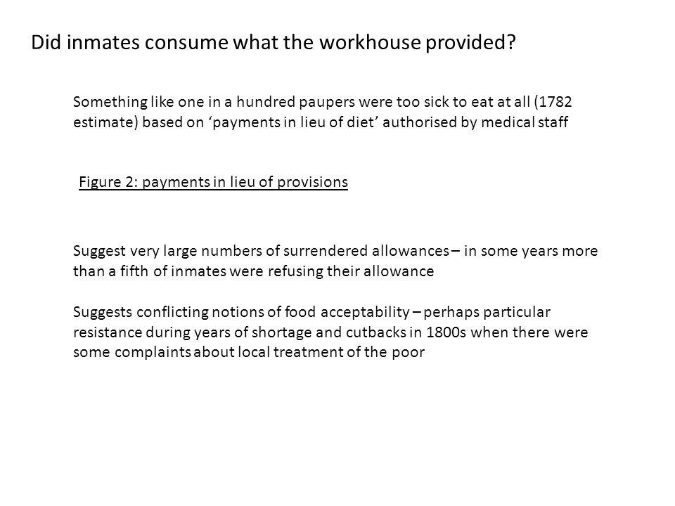 Did inmates consume what the workhouse provided.