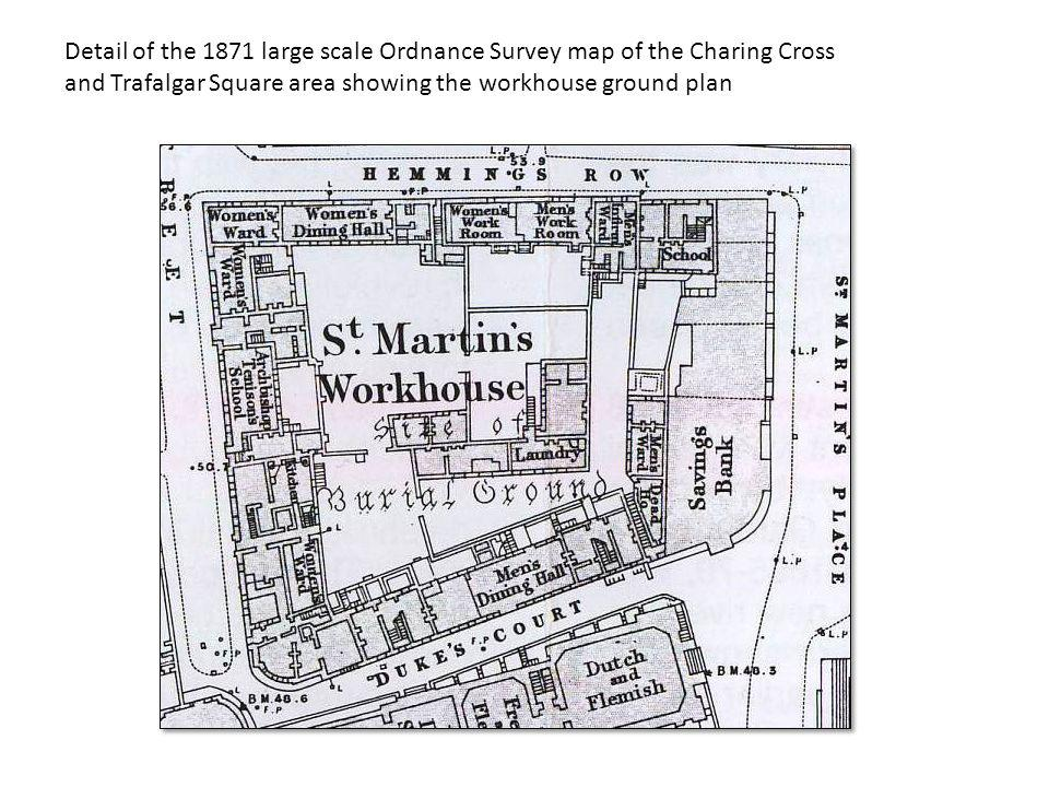 Detail of the 1871 large scale Ordnance Survey map of the Charing Cross and Trafalgar Square area showing the workhouse ground plan