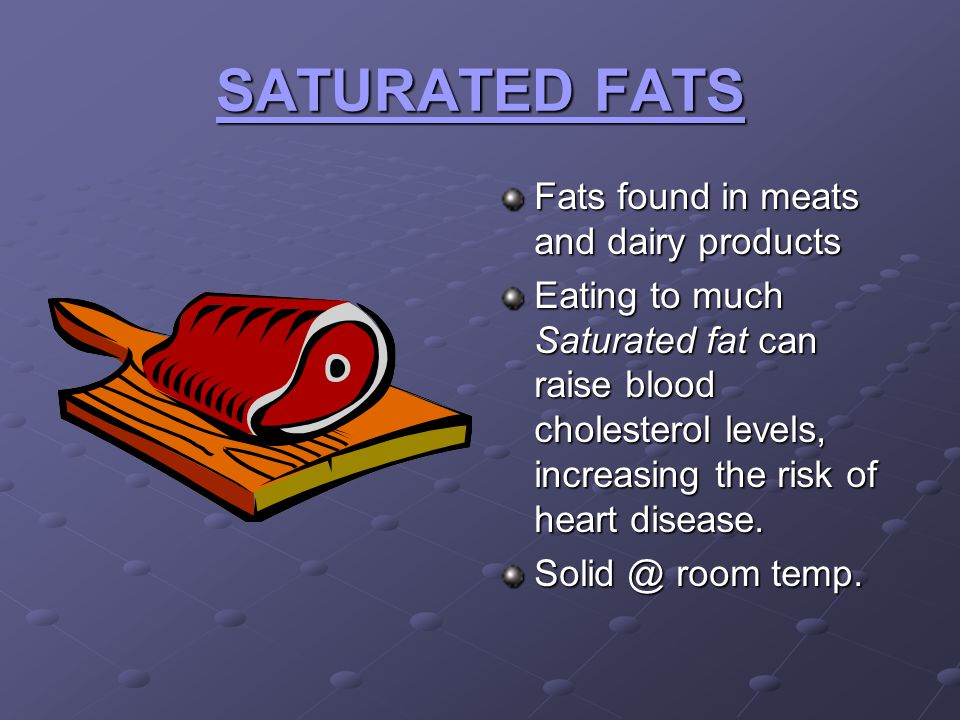 SATURATED FATS Fats found in meats and dairy products Eating to much Saturated fat can raise blood cholesterol levels, increasing the risk of heart di