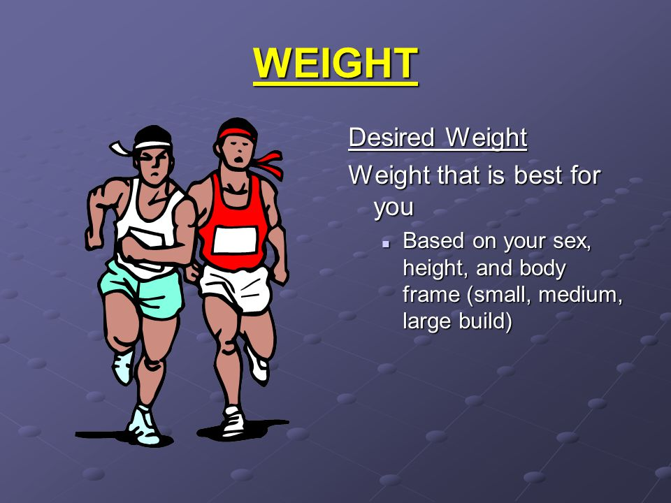 WEIGHT Desired Weight Weight that is best for you Based on your sex, height, and body frame (small, medium, large build)