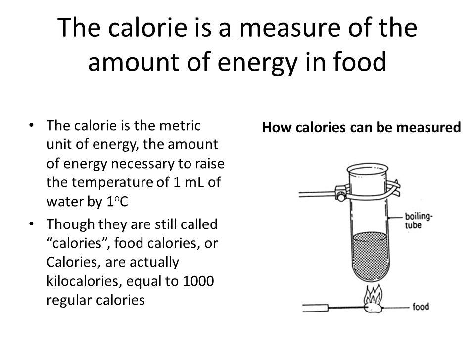 The calorie is a measure of the amount of energy in food The calorie is the metric unit of energy, the amount of energy necessary to raise the temperature of 1 mL of water by 1 o C Though they are still called calories, food calories, or Calories, are actually kilocalories, equal to 1000 regular calories How calories can be measured