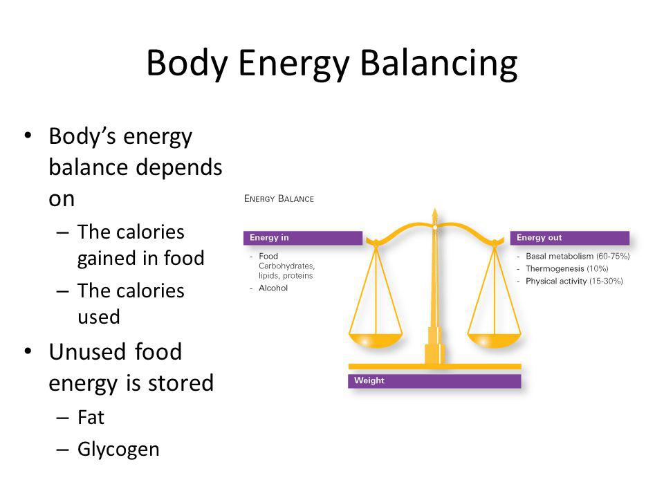 Body Energy Balancing Bodys energy balance depends on – The calories gained in food – The calories used Unused food energy is stored – Fat – Glycogen