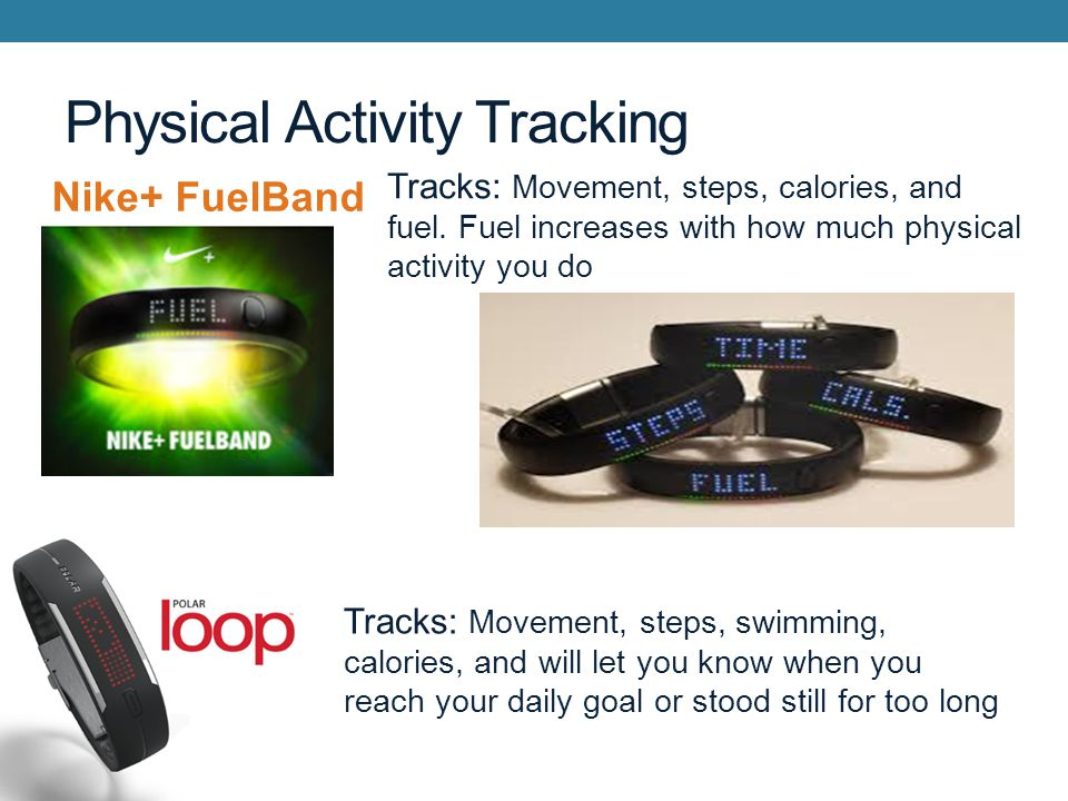 Physical Activity Tracking Nike+ FuelBand Tracks: Movement, steps, calories, and fuel.