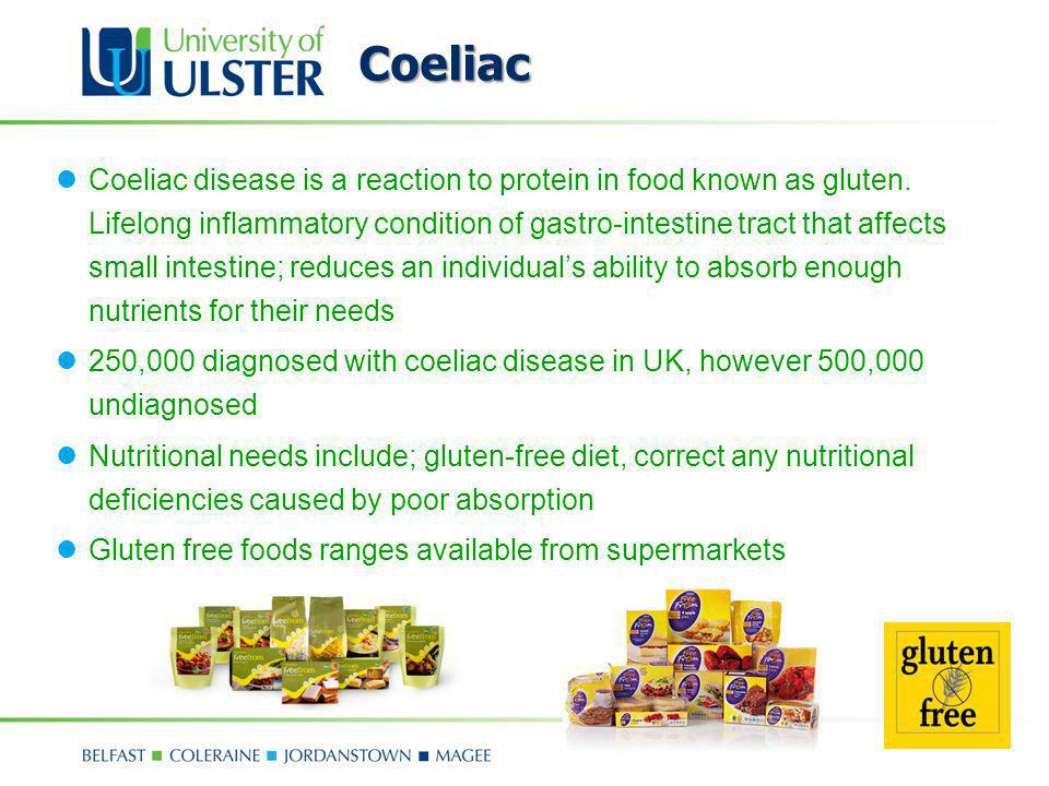 Coeliac Coeliac disease is a reaction to protein in food known as gluten. Lifelong inflammatory condition of gastro-intestine tract that affects small