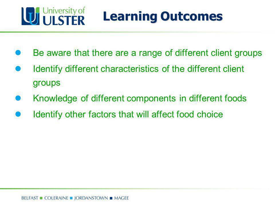 Learning Outcomes Be aware that there are a range of different client groups Identify different characteristics of the different client groups Knowled