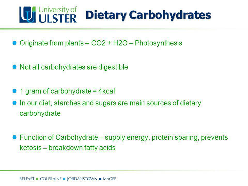 Dietary Carbohydrates Originate from plants – CO2 + H2O – Photosynthesis Not all carbohydrates are digestible 1 gram of carbohydrate = 4kcal In our di