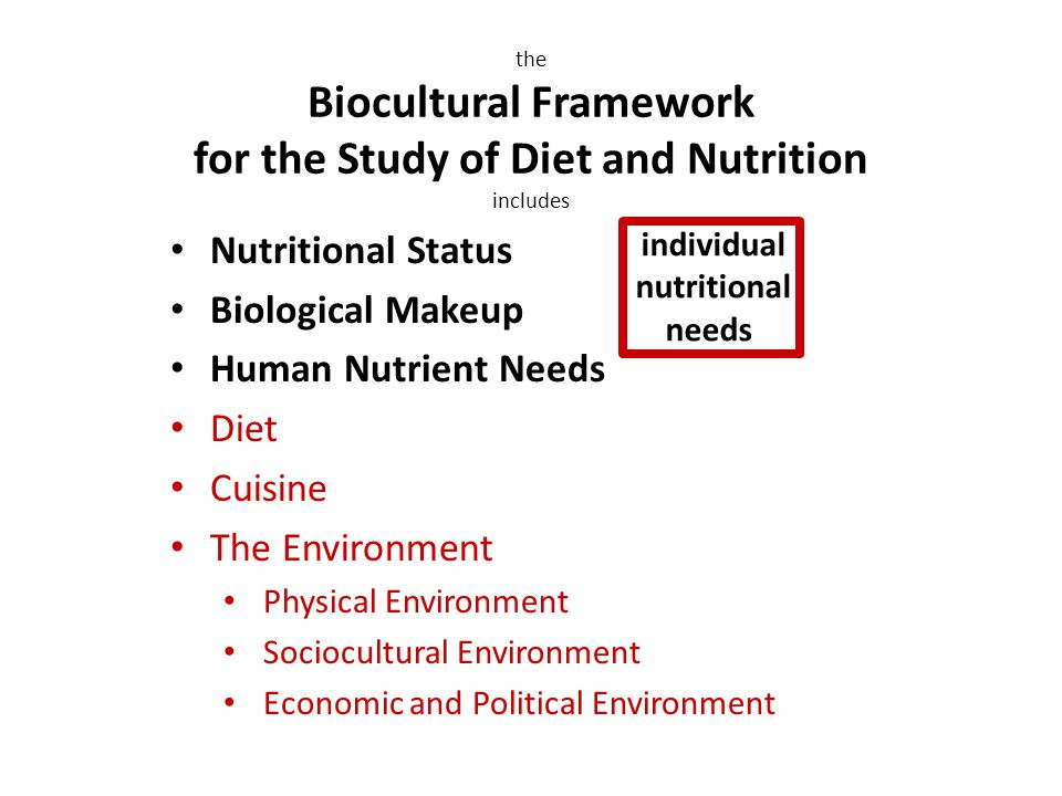 Nutritional Status Biological Makeup Human Nutrient Needs Diet Cuisine The Environment Physical Environment Sociocultural Environment Economic and Political Environment the Biocultural Framework for the Study of Diet and Nutrition includes individual nutritional needs