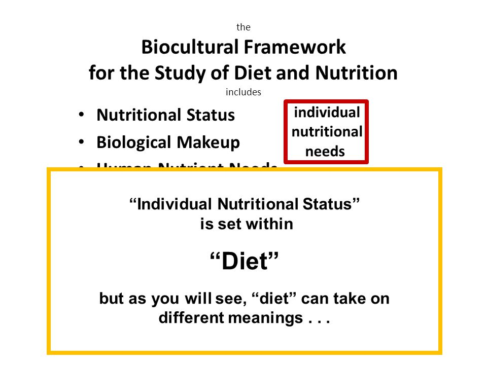 Nutritional Status Biological Makeup Human Nutrient Needs Diet Cuisine The Environment Physical Environment Sociocultural Environment Economic and Political Environment the Biocultural Framework for the Study of Diet and Nutrition includes individual nutritional needs Individual Nutritional Status is set within Diet but as you will see, diet can take on different meanings...