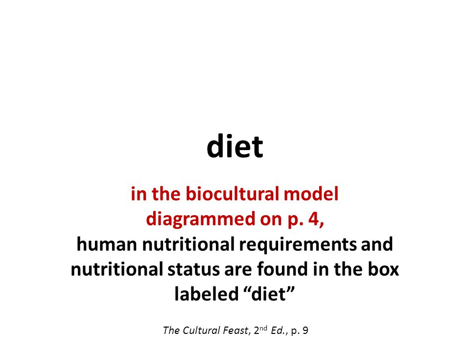 diet in the biocultural model diagrammed on p.