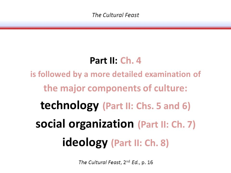 Part II: Ch. 4 is followed by a more detailed examination of the major components of culture: technology (Part II: Chs. 5 and 6) social organization (