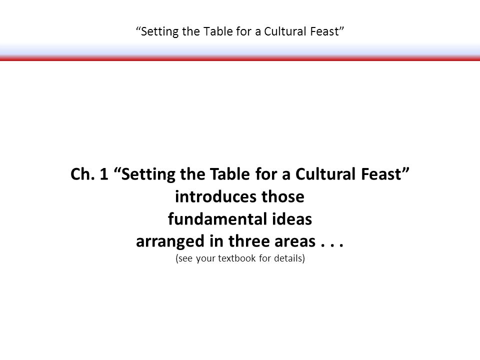 Ch. 1 Setting the Table for a Cultural Feast introduces those fundamental ideas arranged in three areas... (see your textbook for details) Setting the