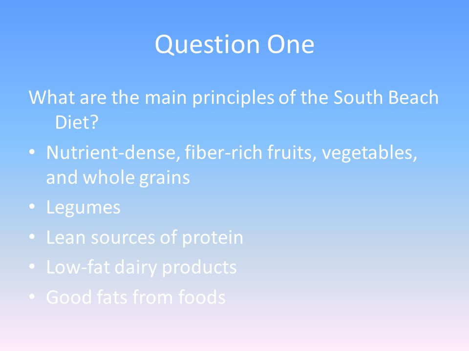 Question One What are the main principles of the South Beach Diet.