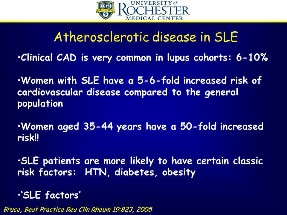 Clinical CAD is very common in lupus cohorts: 6-10% Women with SLE have a 5-6-fold increased risk of cardiovascular disease compared to the general po