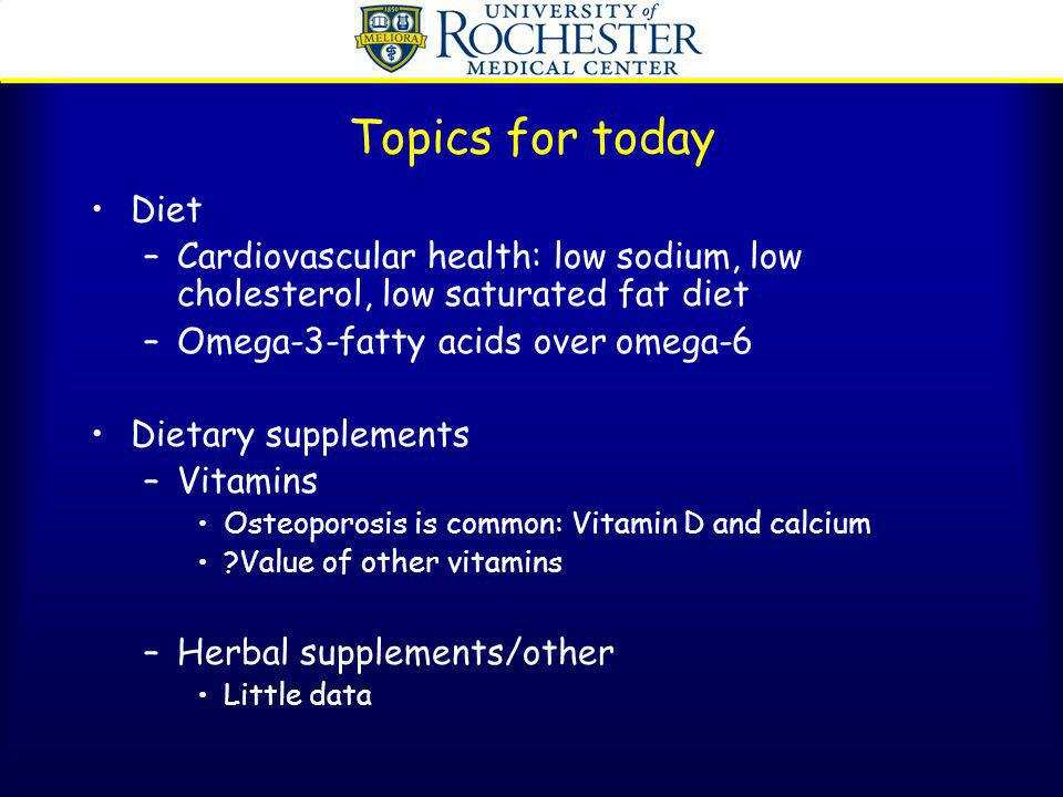 Fish oil and Omega-3-fatty acids in lupus Majority of mice studies show that fish oils retard the development of lupus in mice Human studies show modest results –In 1 RCT, 8/17 lupus patients given 6-8 grams of fish oil per day improved compared with 2/17 given placebo –In 2 other uncontrolled studies patients given large doses of fish oil did not show any improvements in DNA, immune complexes, or renal parameters –In a double blind study of 26 lupus patients who were followed for 2 years, there was no improvement in renal parameters or DNA antibodies.
