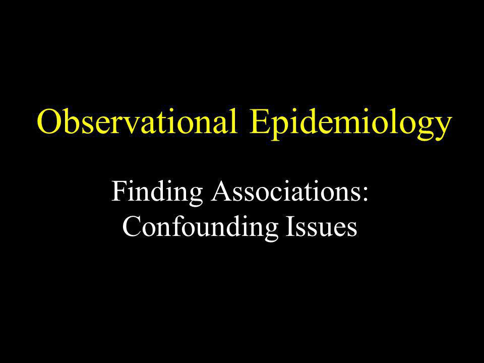 Observational Epidemiology Finding Associations: Confounding Issues