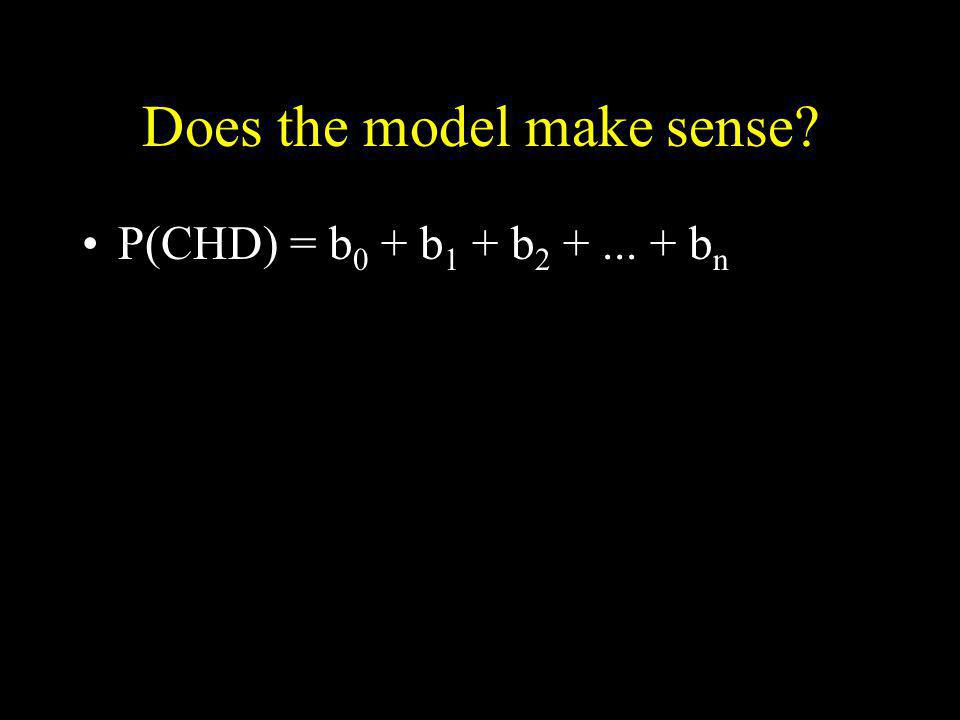 Does the model make sense? P(CHD) = b 0 + b 1 + b 2 +... + b n