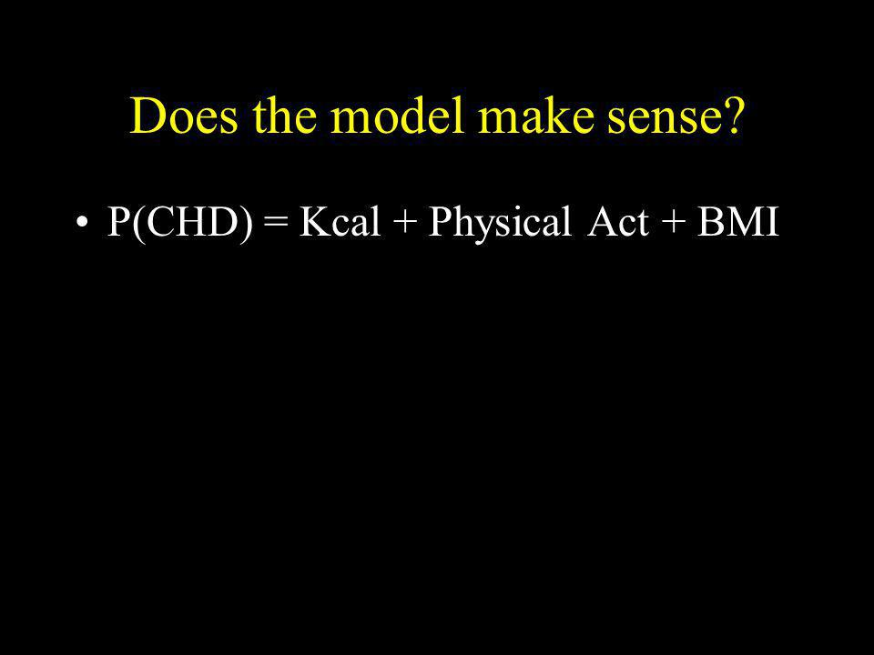 Does the model make sense? P(CHD) = Kcal + Physical Act + BMI