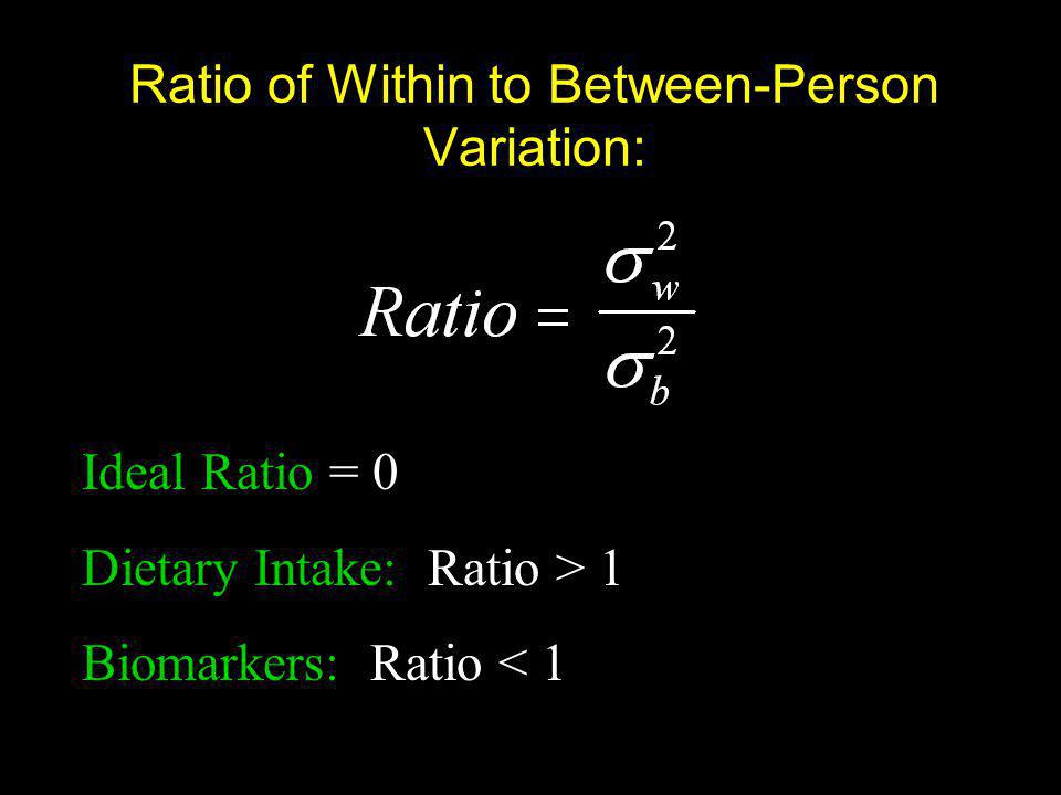 Ratio of Within to Between-Person Variation: Ideal Ratio = 0 Dietary Intake: Ratio > 1 Biomarkers: Ratio < 1