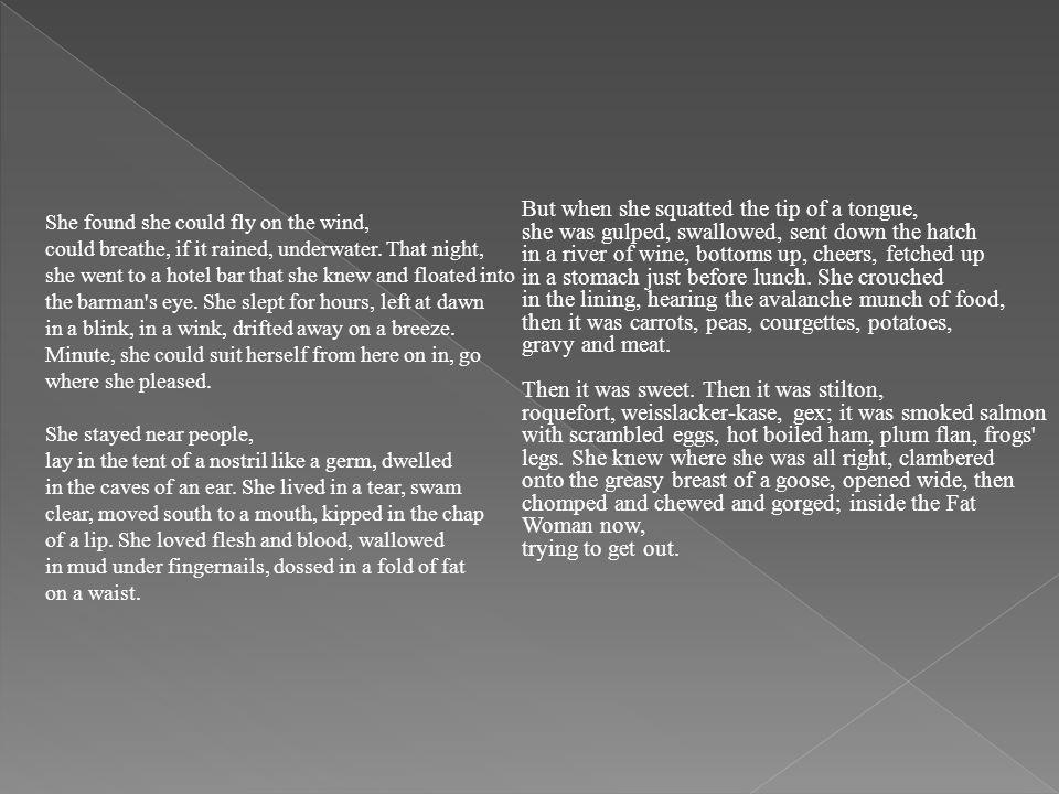 8 stanzas 7 lines No rhyme scheme Rhyming within lines Enumeration Parallelism