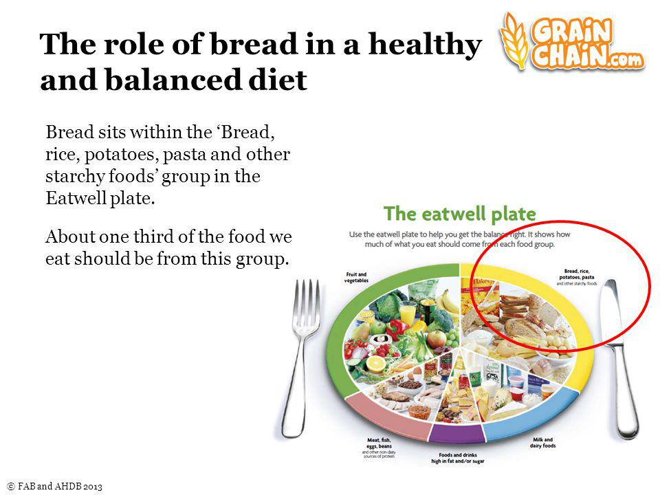 © FAB and AHDB 2013 The Bread, rice, potatoes, pasta and other starchy foods group Foods in this food group include those made from grains, such as bread, breakfast cereals, pasta and rice.