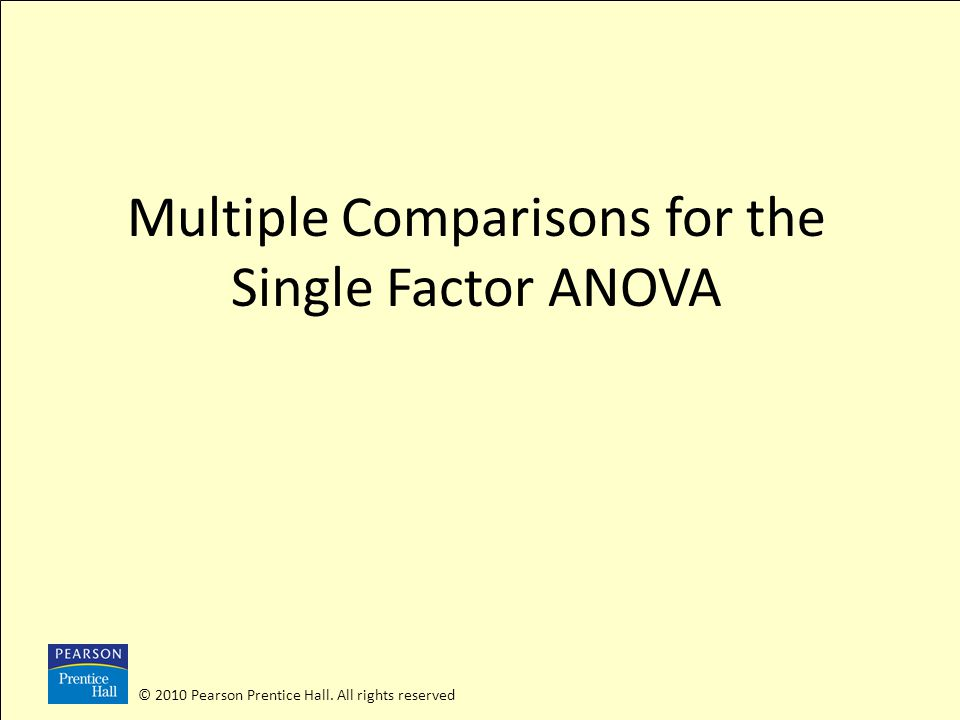 © 2010 Pearson Prentice Hall. All rights reserved Multiple Comparisons for the Single Factor ANOVA