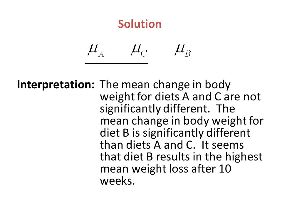 Solution Interpretation: The mean change in body weight for diets A and C are not significantly different. The mean change in body weight for diet B i