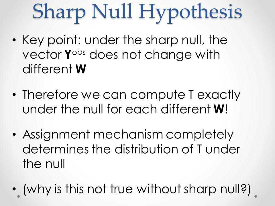 Sharp Null Hypothesis Key point: under the sharp null, the vector Y obs does not change with different W Therefore we can compute T exactly under the null for each different W .
