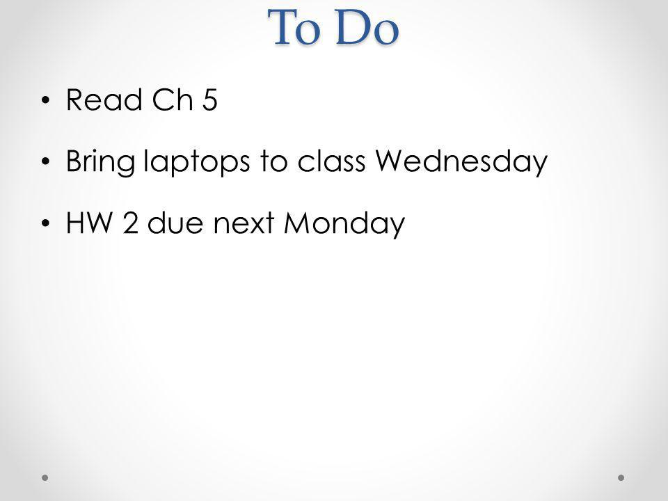 To Do Read Ch 5 Bring laptops to class Wednesday HW 2 due next Monday