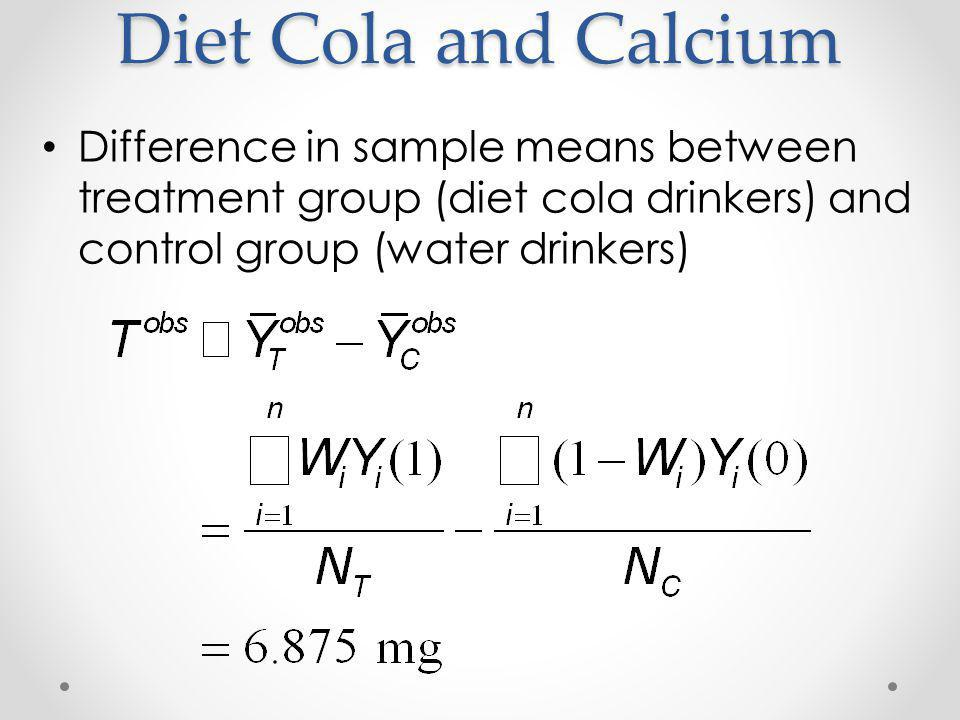 Diet Cola and Calcium Difference in sample means between treatment group (diet cola drinkers) and control group (water drinkers)