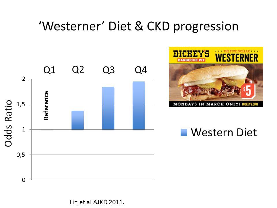 Westerner Diet & CKD progression Q1 Q2 Q3 Q4 Reference Odds Ratio Lin et al AJKD 2011.