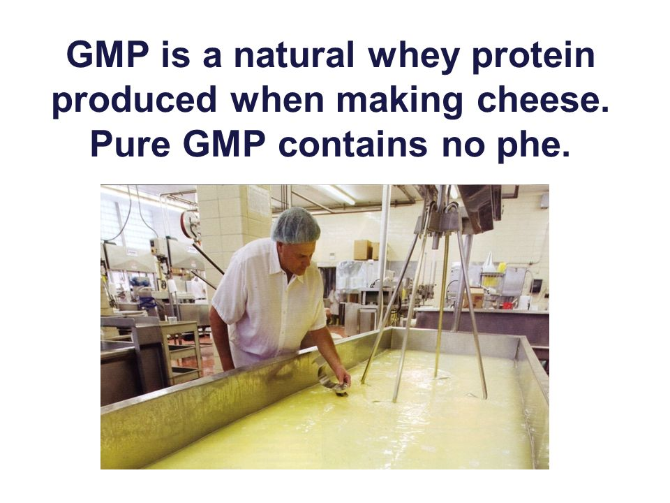 GMP is a natural whey protein produced when making cheese. Pure GMP contains no phe.