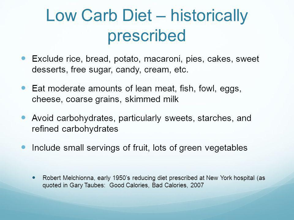 Low Carb Diet – historically prescribed Exclude rice, bread, potato, macaroni, pies, cakes, sweet desserts, free sugar, candy, cream, etc.