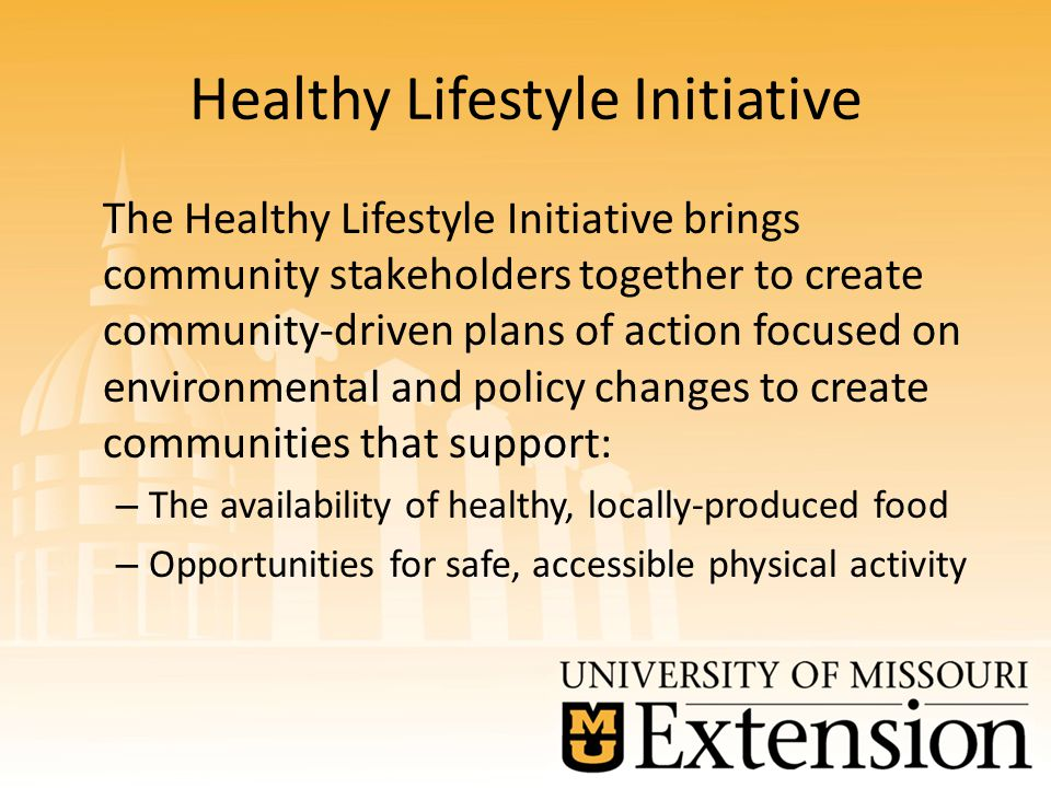 Healthy Lifestyle Initiative The Healthy Lifestyle Initiative brings community stakeholders together to create community-driven plans of action focused on environmental and policy changes to create communities that support: – The availability of healthy, locally-produced food – Opportunities for safe, accessible physical activity