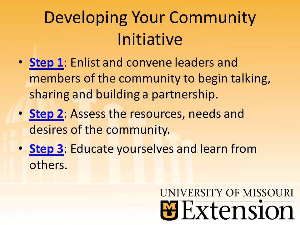 Developing Your Community Initiative Step 1: Enlist and convene leaders and members of the community to begin talking, sharing and building a partnership.