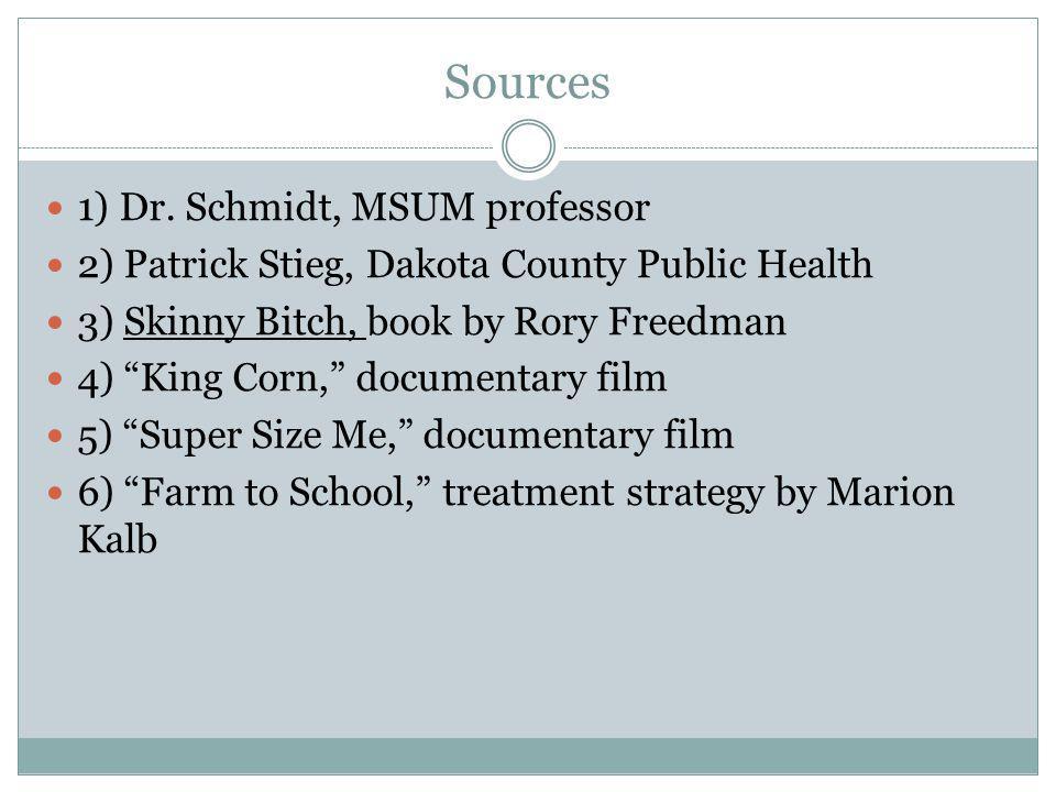 Sources 1) Dr. Schmidt, MSUM professor 2) Patrick Stieg, Dakota County Public Health 3) Skinny Bitch, book by Rory Freedman 4) King Corn, documentary
