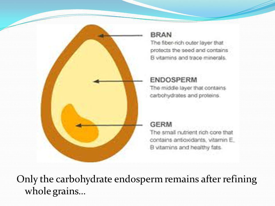 Only the carbohydrate endosperm remains after refining whole grains…