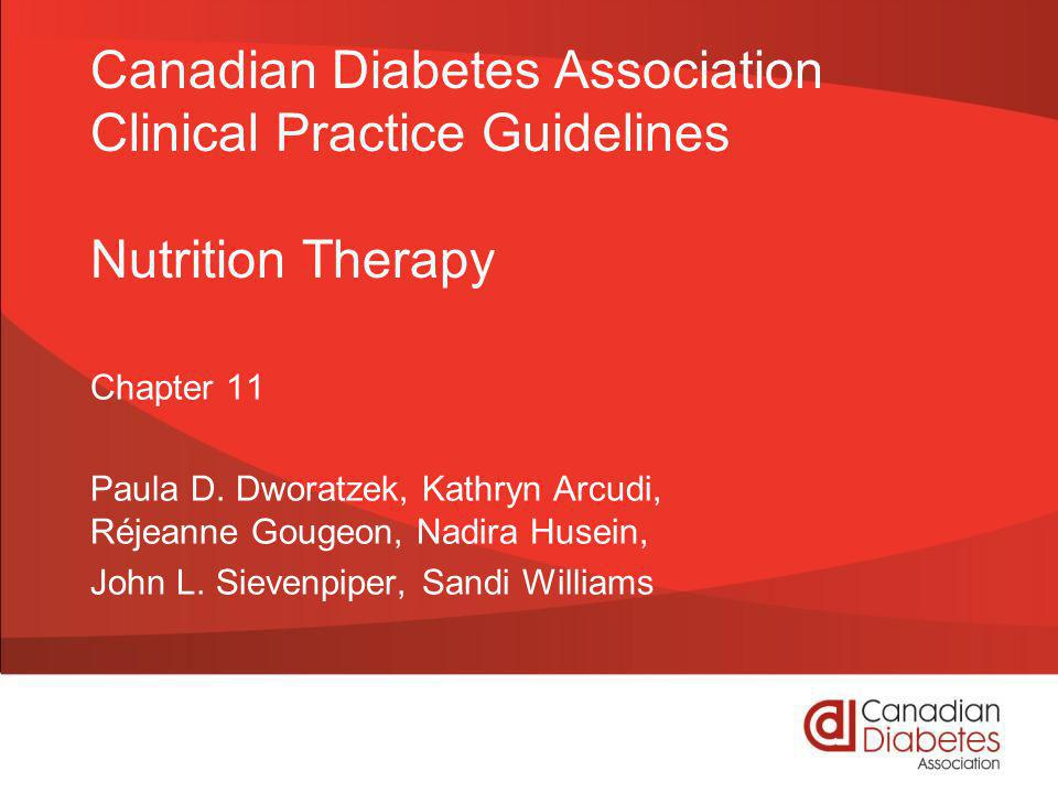 guidelines.diabetes.ca | 1-800-BANTING (226-8464) | diabetes.ca Copyright © 2013 Canadian Diabetes Association Recommendations 1 and 2 1.People with diabetes should receive nutrition counseling by a registered dietitian to lower A1C levels [Grade B, Level 2, for type 2 diabetes; Grade D, Consensus, for type 1 diabetes], and reduce hospitalization rates [Grade C, Level 2] 2.Nutrition education is effective when delivered in either a small group or one-on-one setting [Grade B, Level 2].