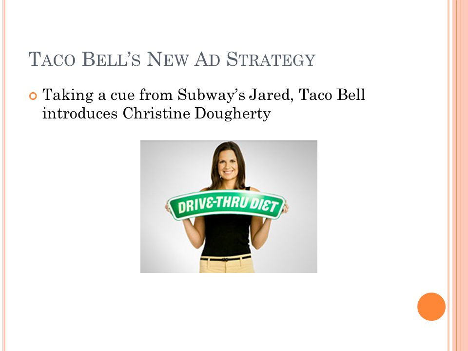 T ACO B ELL S N EW A D S TRATEGY Taking a cue from Subways Jared, Taco Bell introduces Christine Dougherty
