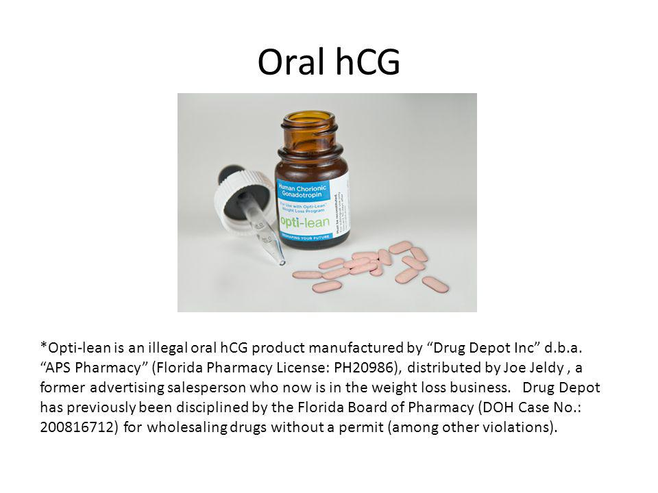 Oral hCG *Opti-lean is an illegal oral hCG product manufactured by Drug Depot Inc d.b.a.