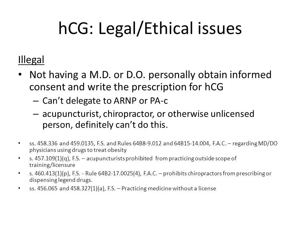 hCG: Legal/Ethical issues Illegal Not having a M.D.