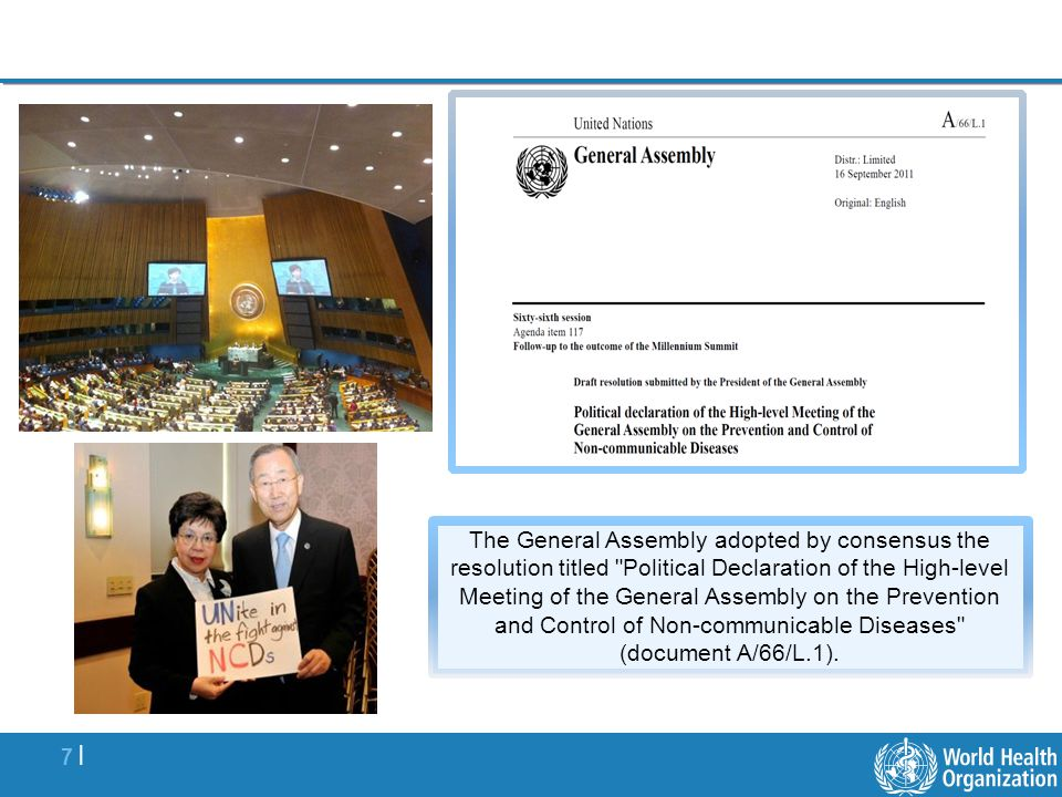 7 |7 | The General Assembly adopted by consensus the resolution titled Political Declaration of the High-level Meeting of the General Assembly on the Prevention and Control of Non-communicable Diseases (document A/66/L.1).