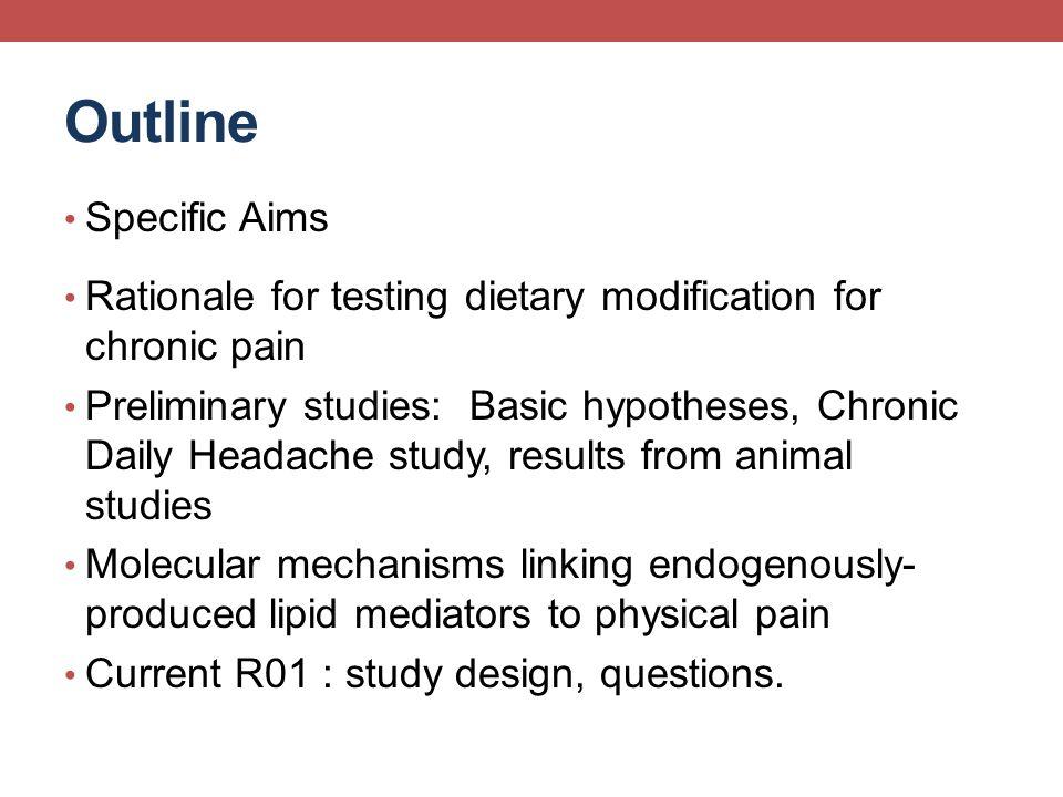 Migraine Co-Morbidities Obesity --- headache (inflammation) Crohns disease --- migraine Ulcerative colitis --- migraine Irritable bowel syndrome (Aydinlar, 2013) Omega-6 FA consumption Gastrointestinal symptoms Nausea, diarrhea, cramping, bloating, pain