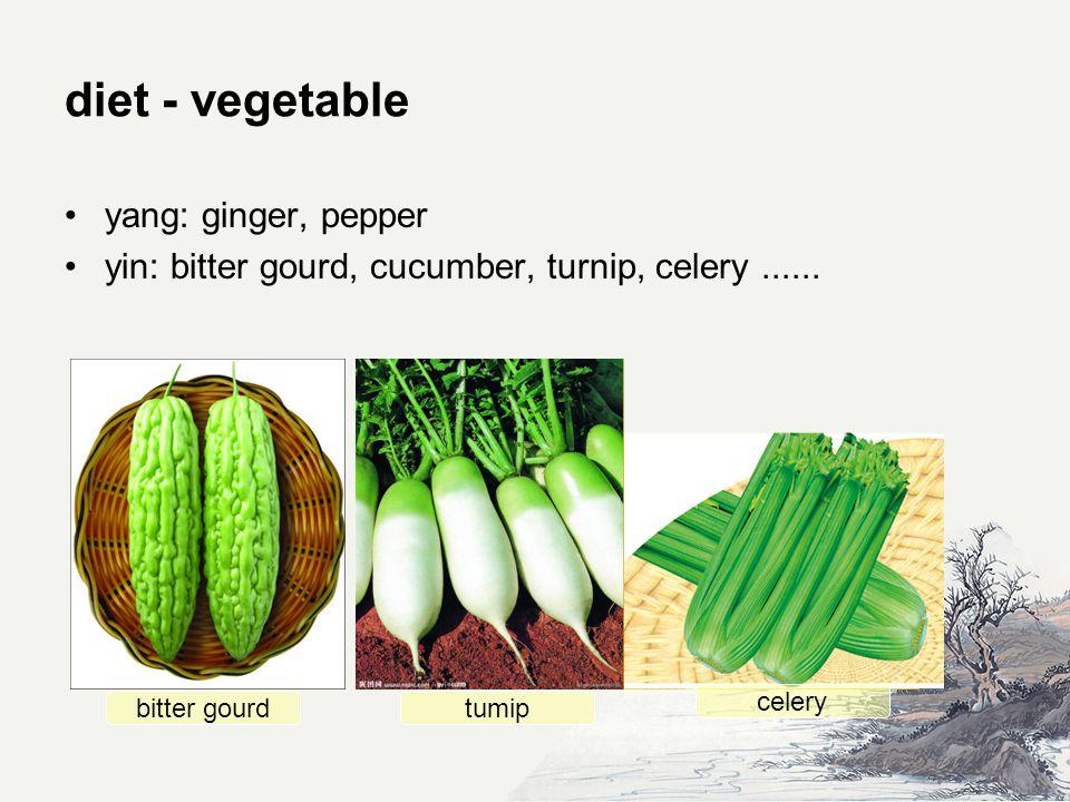 diet - vegetable yang: ginger, pepper yin: bitter gourd, cucumber, turnip, celery......
