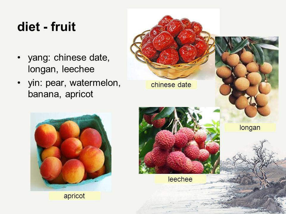 diet - fruit yang: chinese date, longan, leechee yin: pear, watermelon, banana, apricot chinese date longan apricot leechee