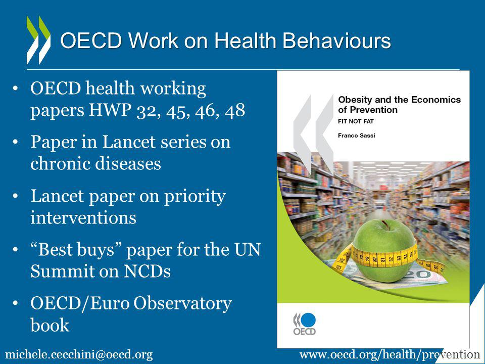 OECD Work on Health Behaviours OECD health working papers HWP 32, 45, 46, 48 Paper in Lancet series on chronic diseases Lancet paper on priority inter