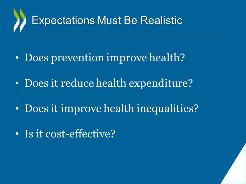 Expectations Must Be Realistic Does prevention improve health? Does it reduce health expenditure? Does it improve health inequalities? Is it cost-effe